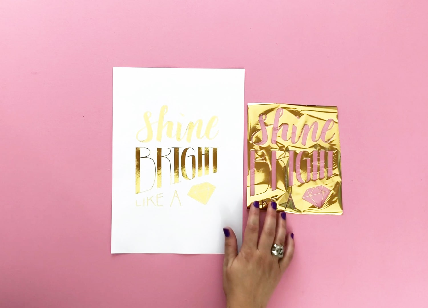 Finished gold foil wall art