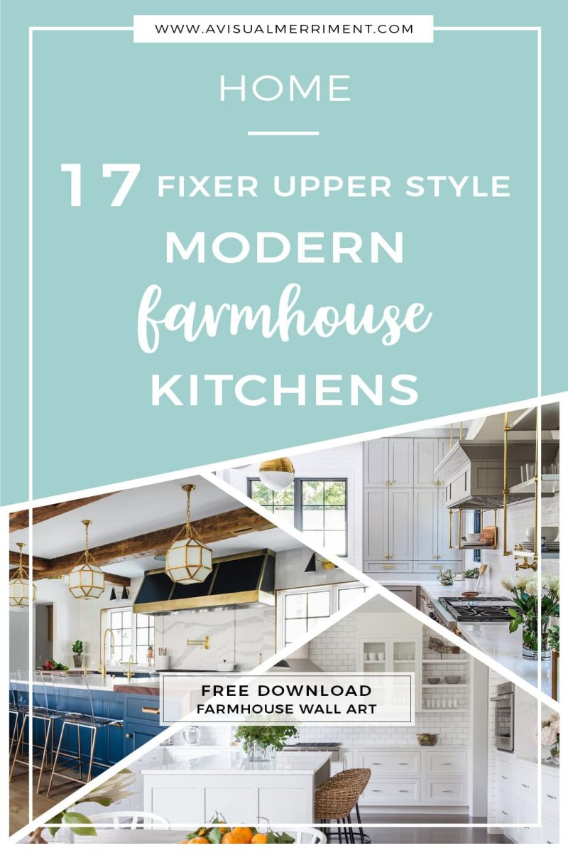 17 Fixer Upper Style Modern Farmhouse Kitchens inspiration with free wall art printables