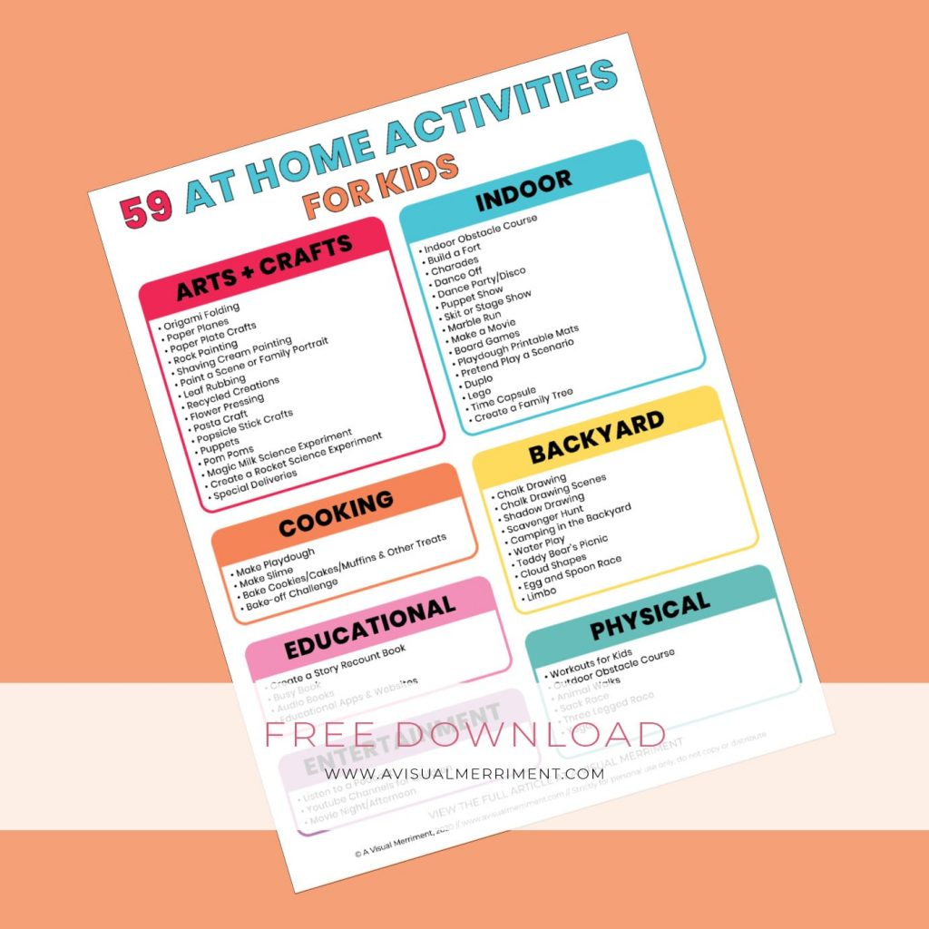 checklist of home activities for kids
