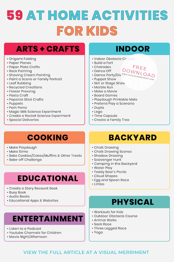 at home activities for kids checklist graphic