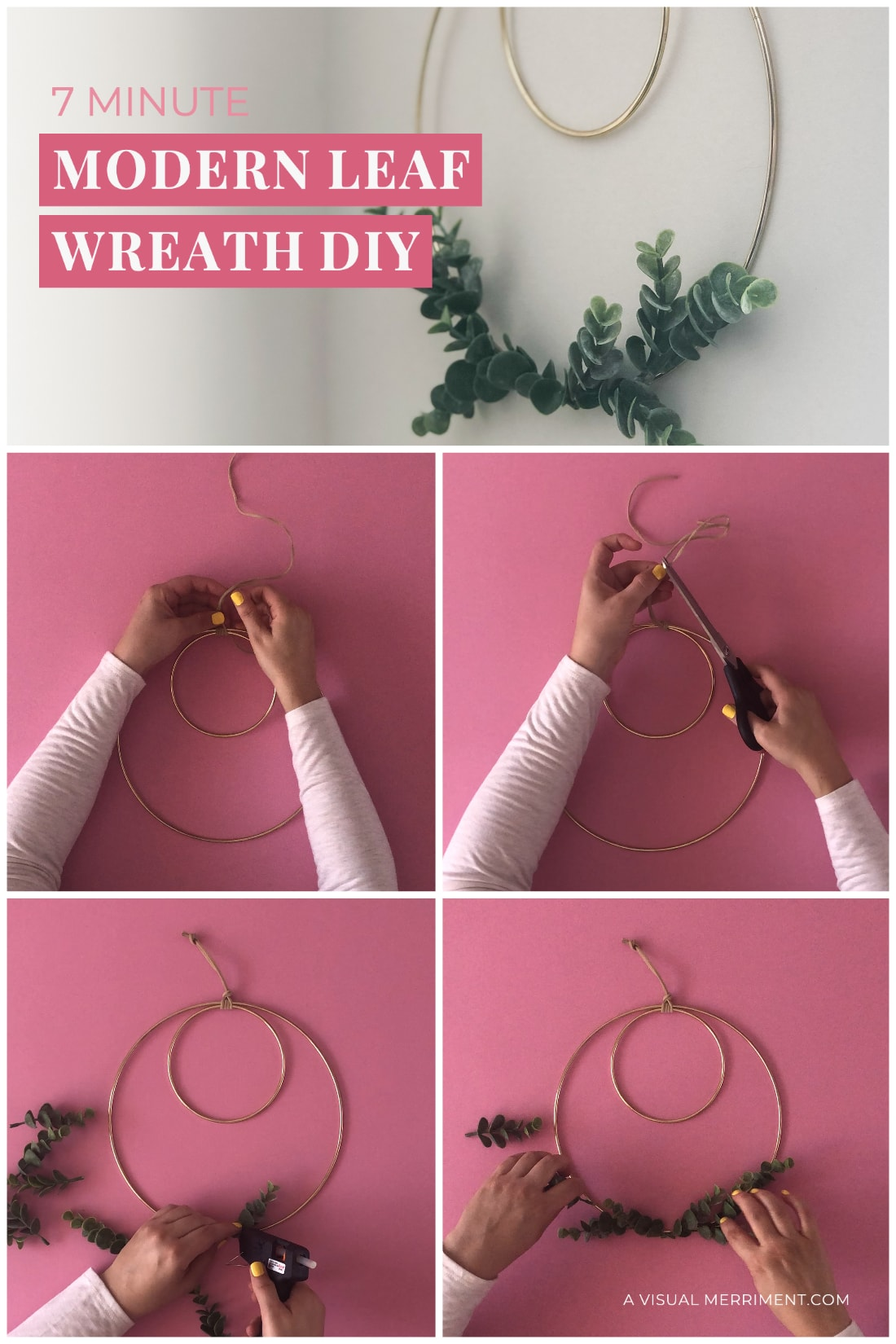graphic with simple steps of how to make wreath