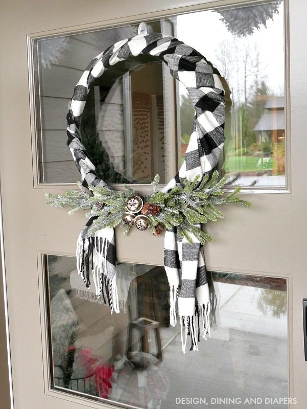 Black and white check scarf wreath diy