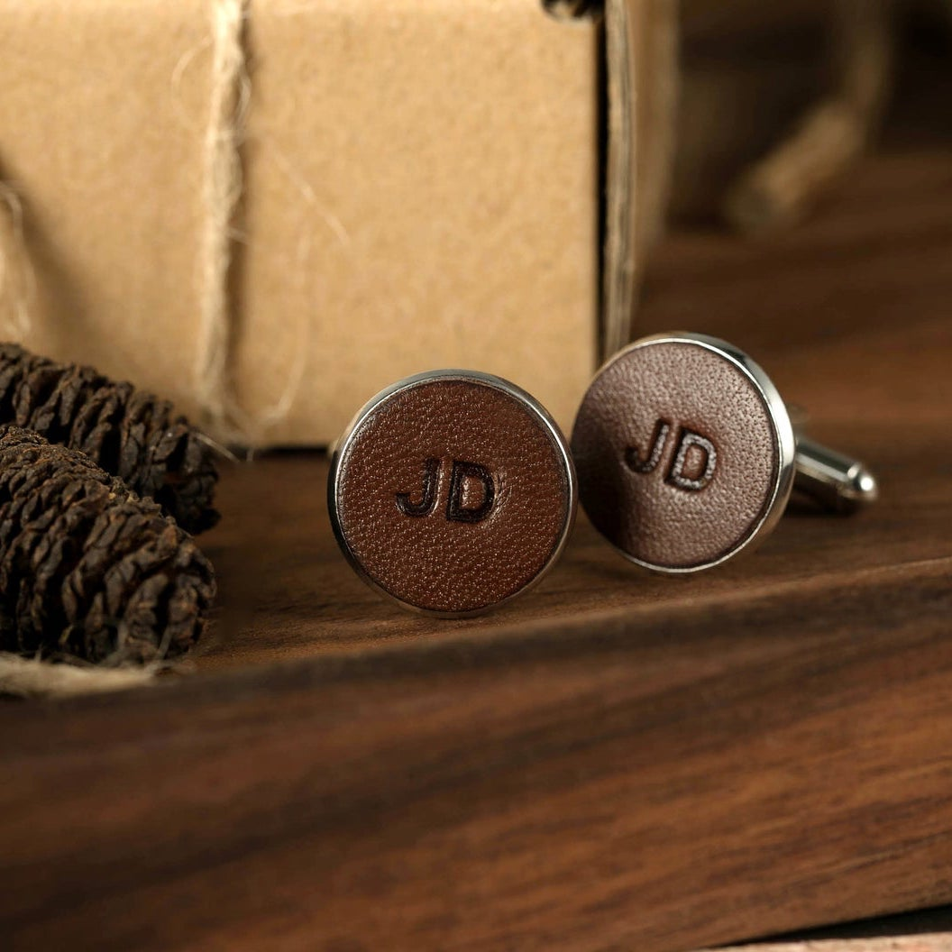 Etsy gift idea custom Initial Leather Cufflinks