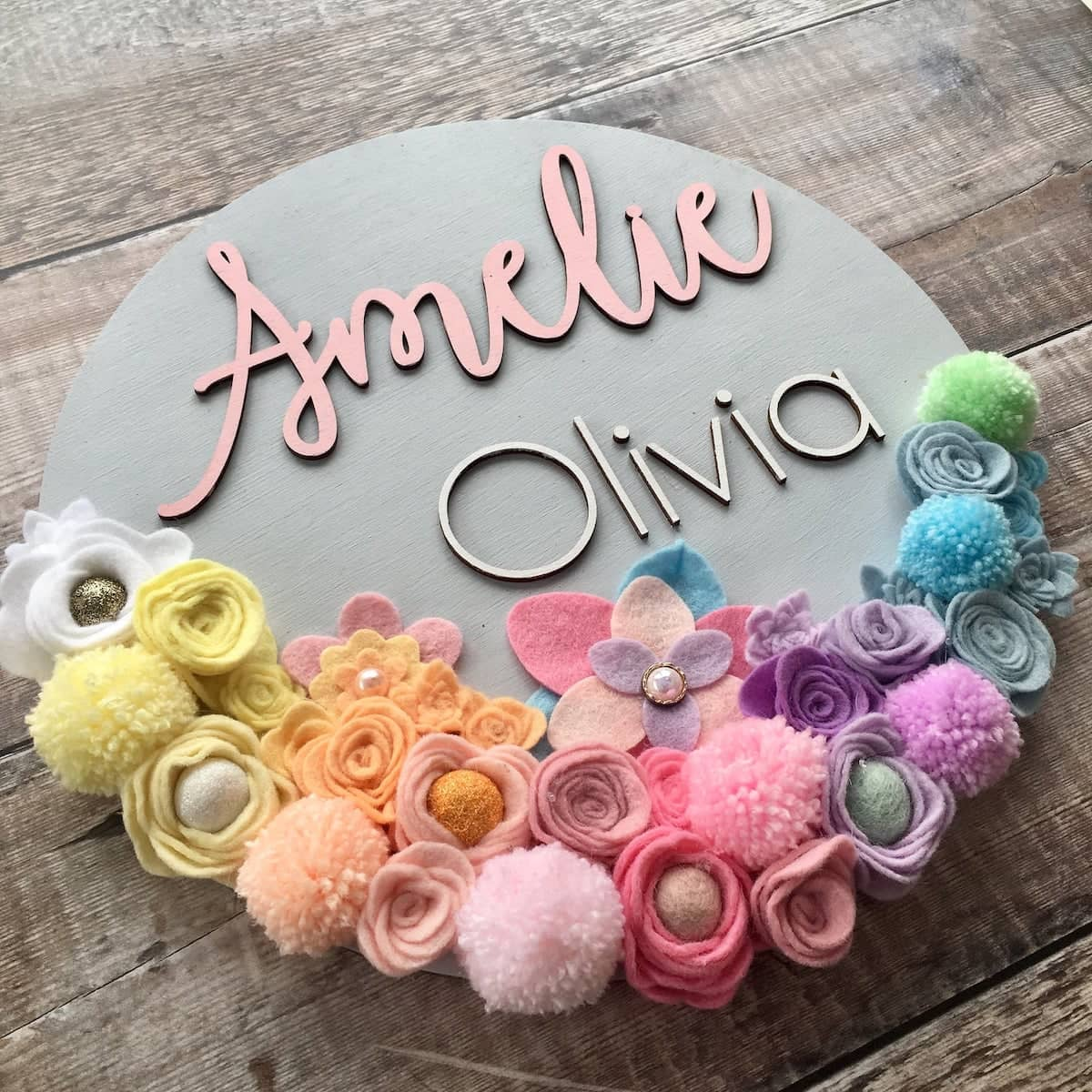 Etsy Gift Guide - Custom Felt Flower Name Plaque