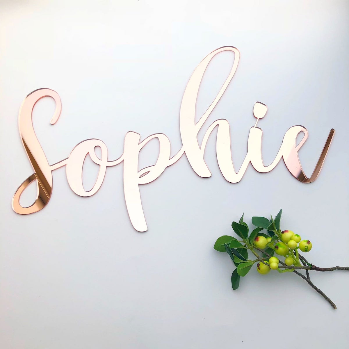 Etsy Gift Guide - Rose Gold Mirror Name Sign