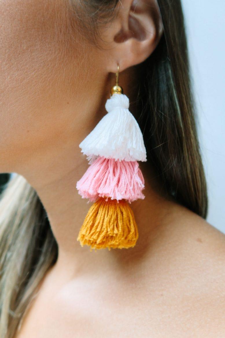 Lady wearing tassel earring