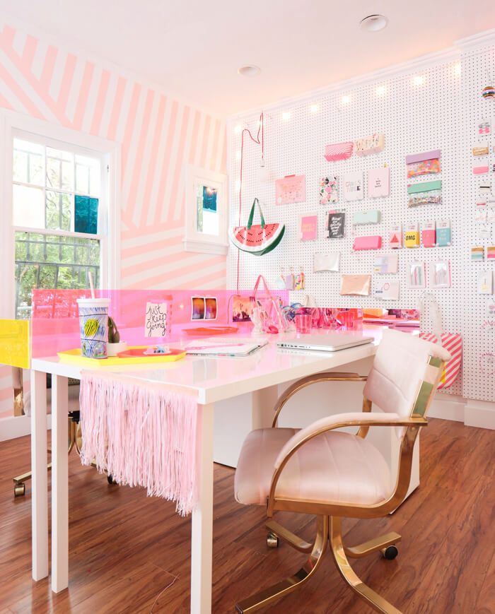 pink fun workspace with bold wallpaper