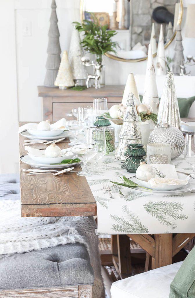 Green and silver christmas table decor idea