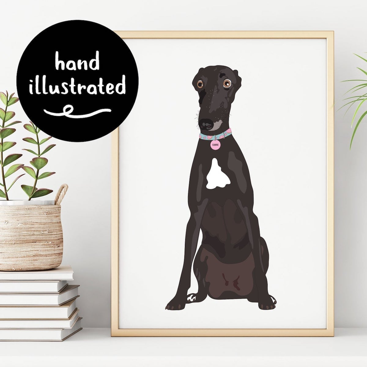 Etsy Gift Guide - Personalised Illustrated Pet Portrait Wall Art