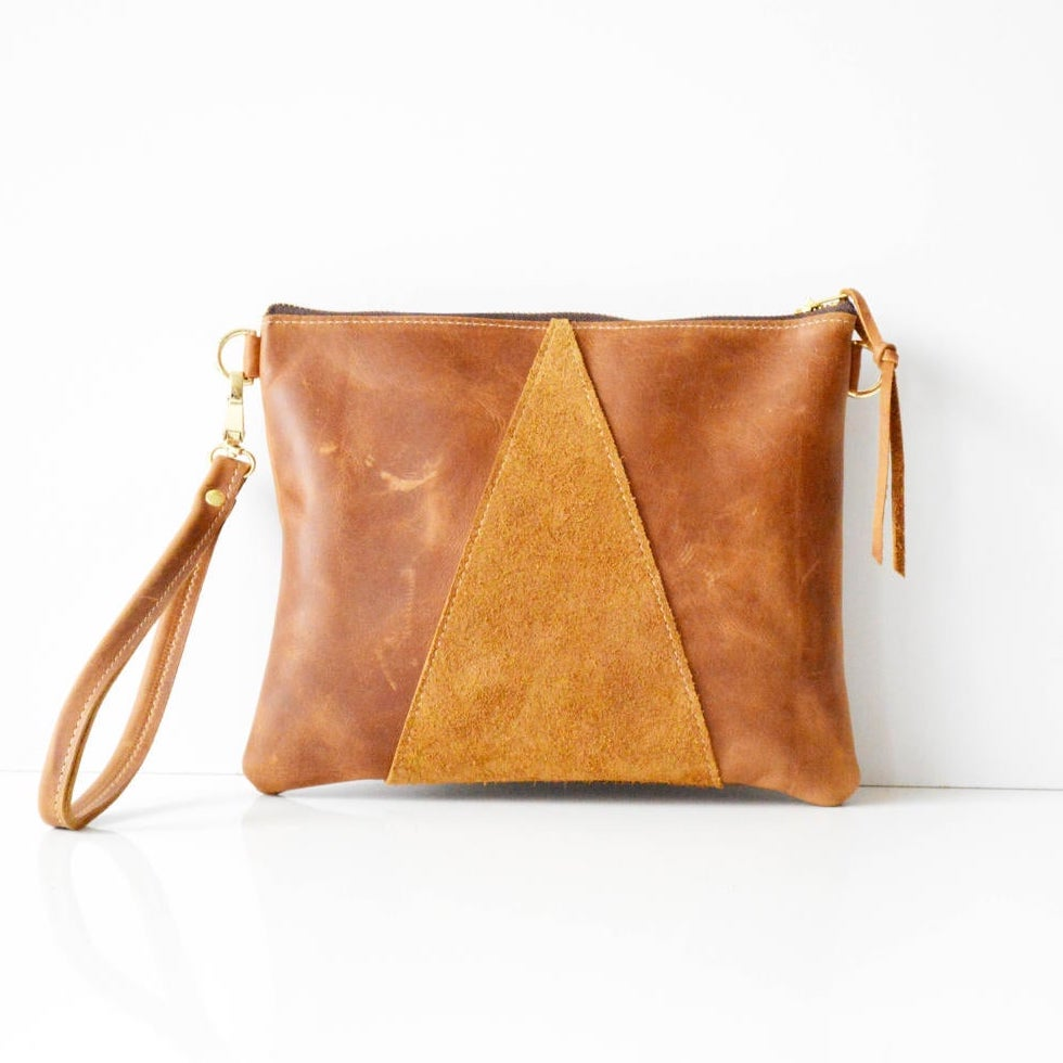 Tan leather cross body bag clutch