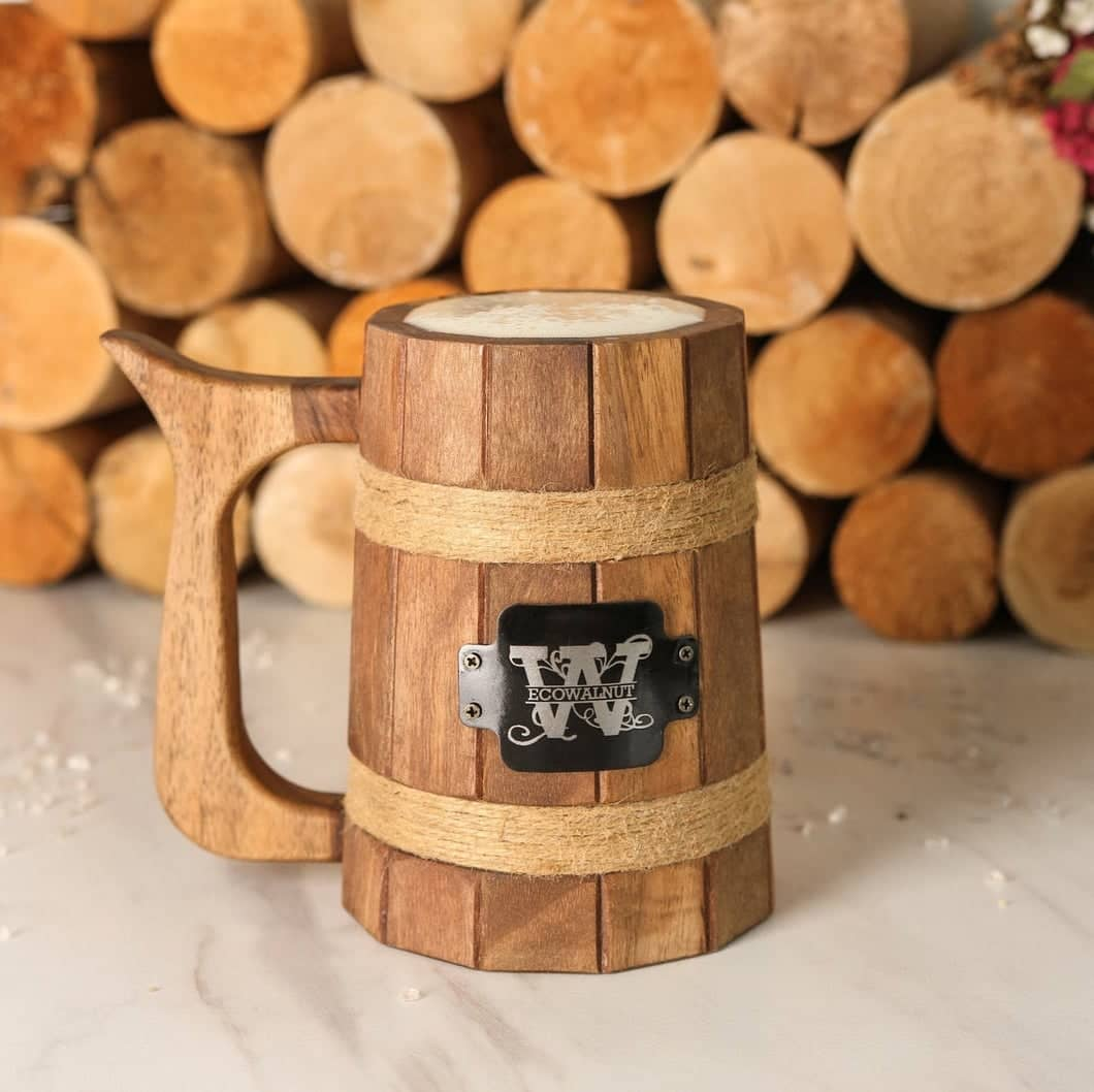 Custom wood beer mug