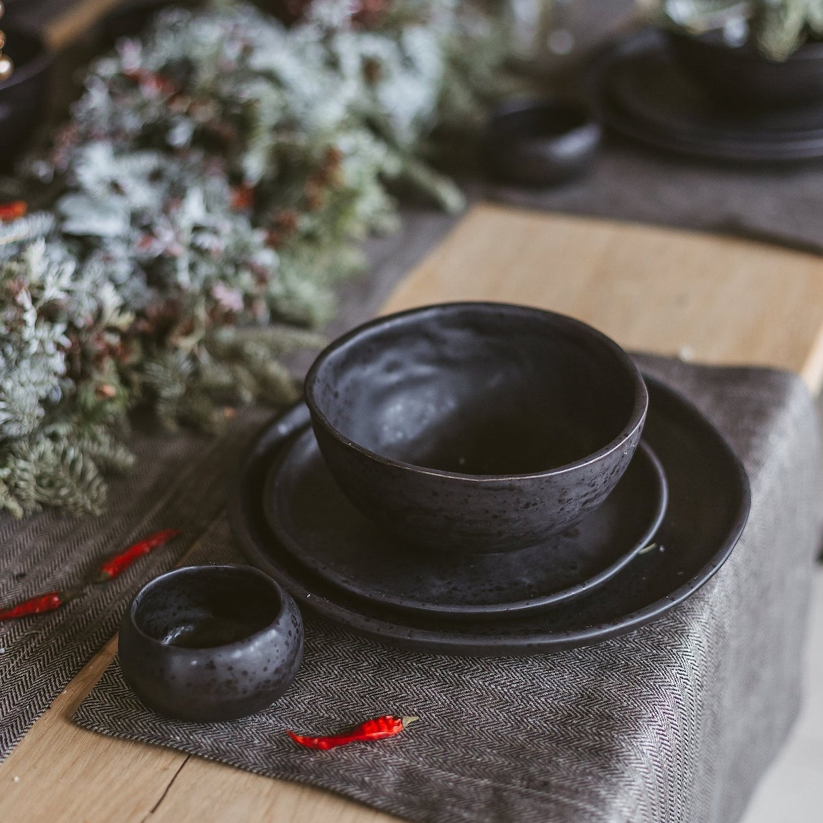 Black Stone Dinnerware Set Etsy gift