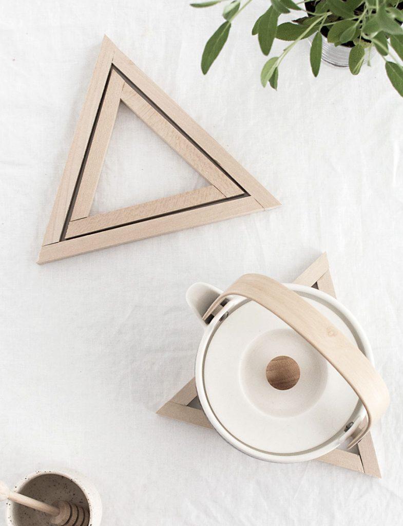 wood triangle trivet gift and tea pot