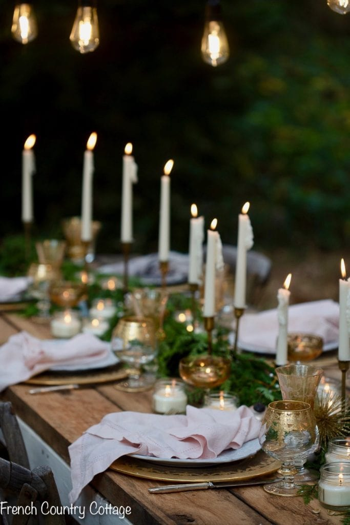 candlelit rustic table setting