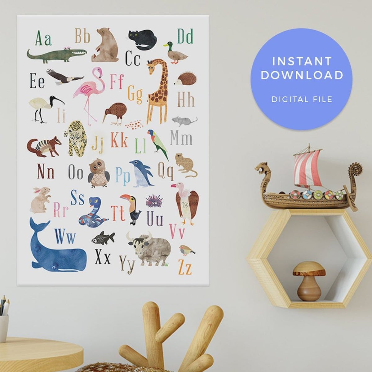 Etsy gift find alphabet printable poster