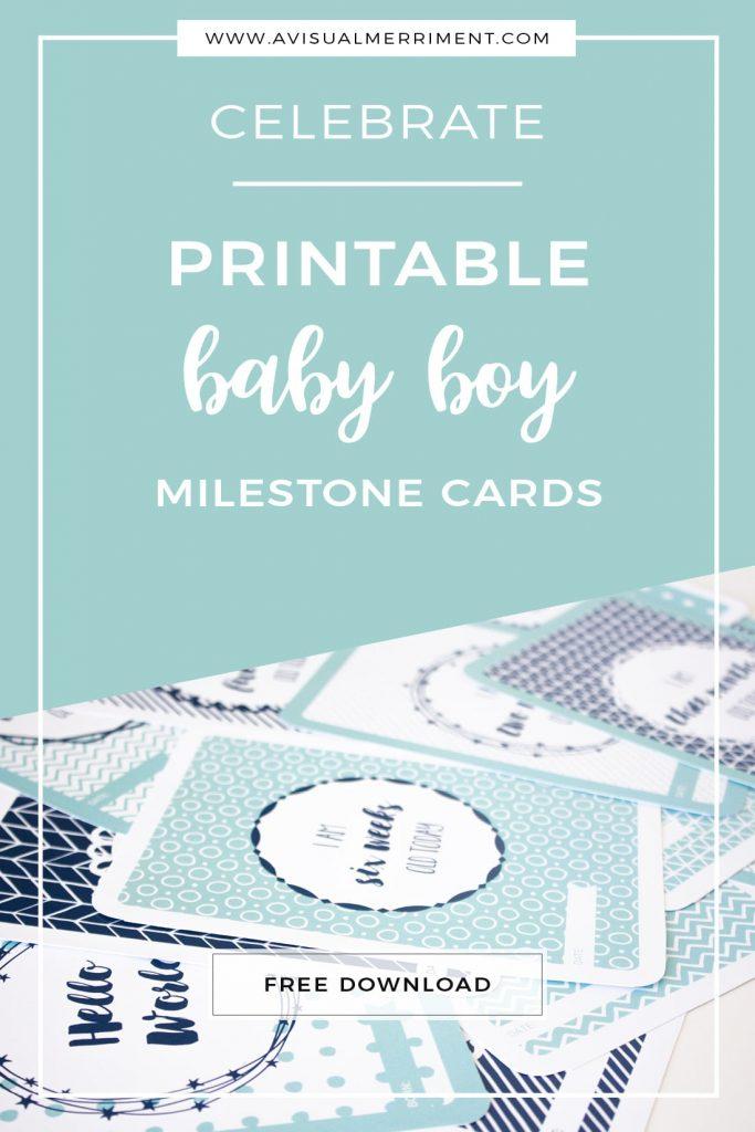 download free baby boy milestone cards