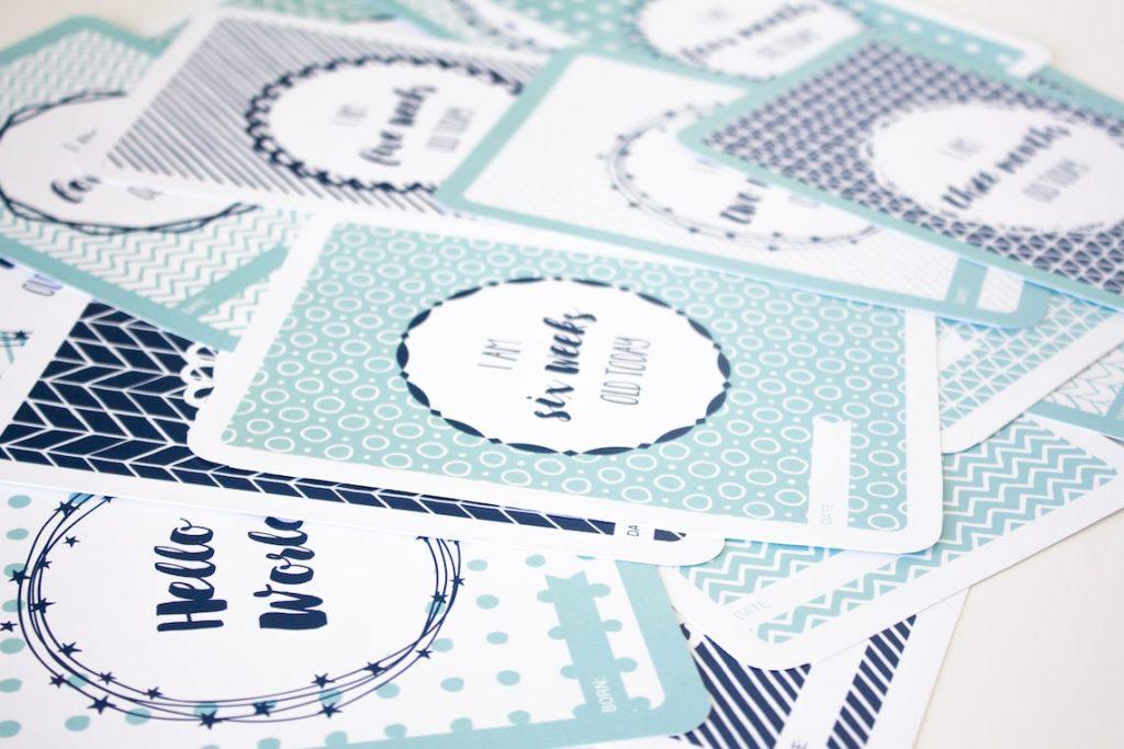 Fan blue baby boy milestone card designs