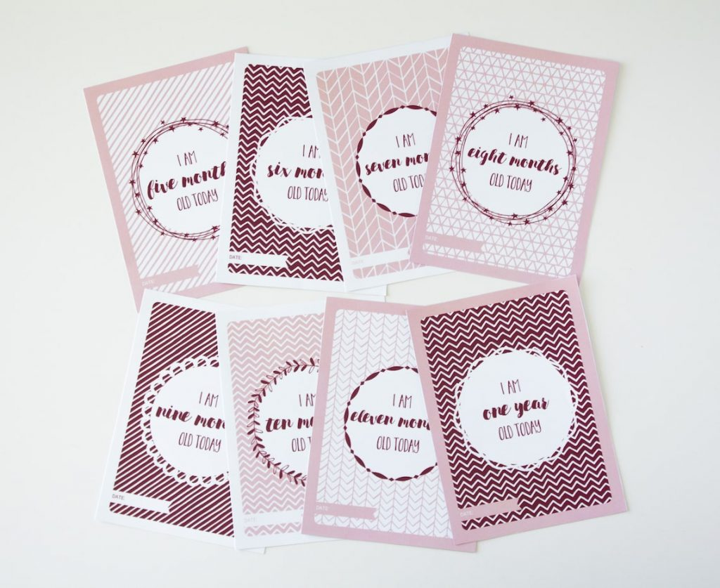 Baby girl milestone cards designs 5 to 12 months
