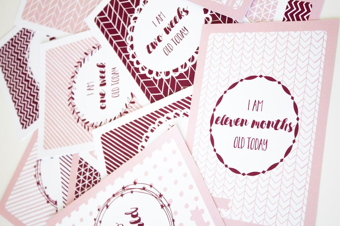 Fan pink baby girl milestone card designs