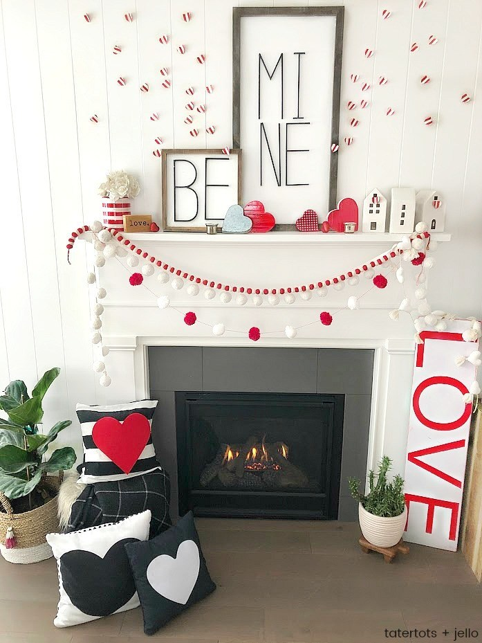 valentines day decoration mantle