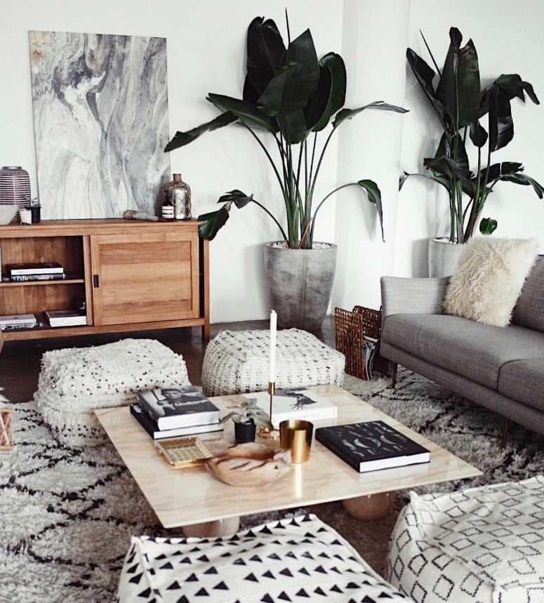 Scandi boho beachy living room with basic pattern and minimal colour