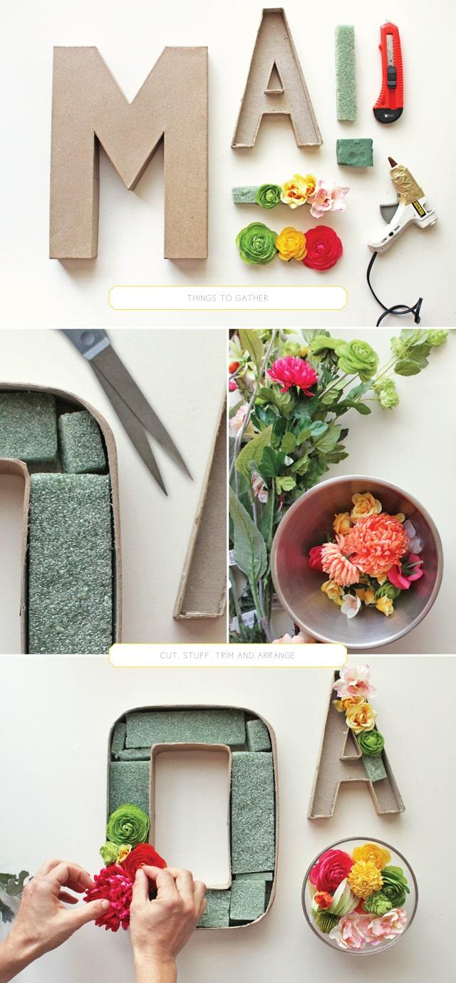 making cardboard monograms with flowers