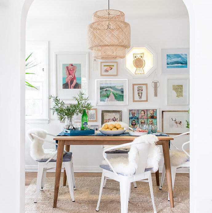 Add texture with rugs, throws and decor in your dining room for beach boho style