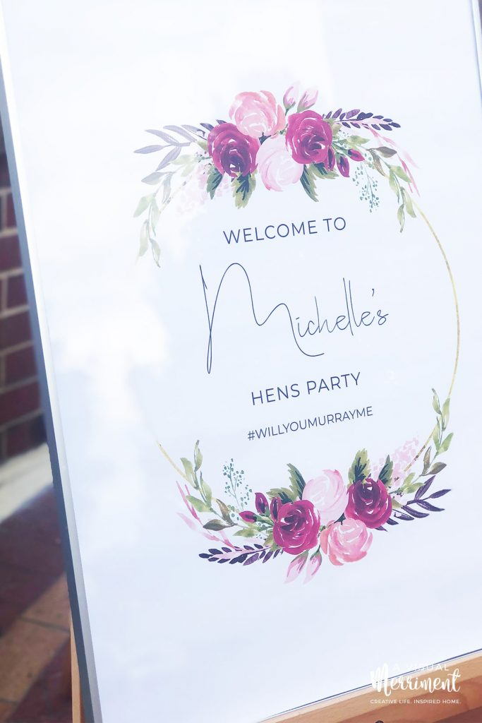close up of boho wreath bachelorette party welcome sign