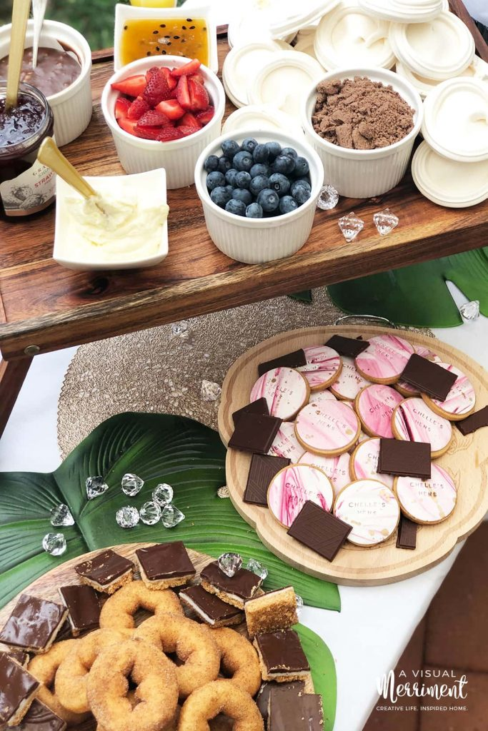 sweet treats bachelorette party grazing table