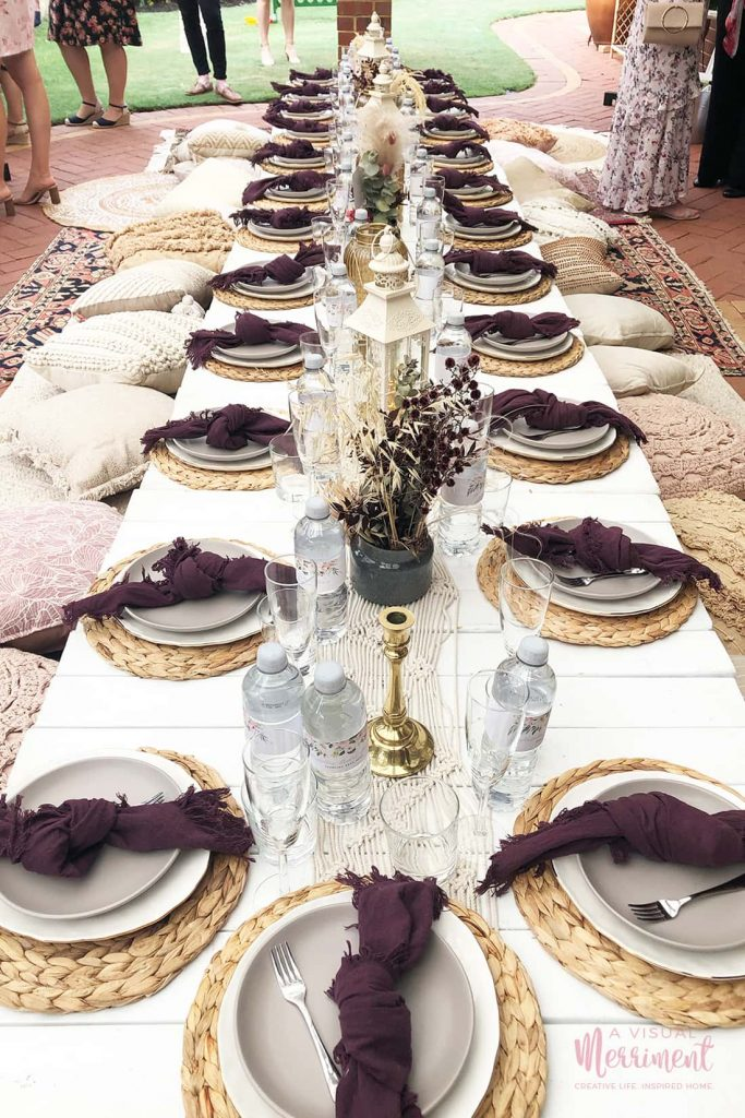 bachelorette party long table with boho decor