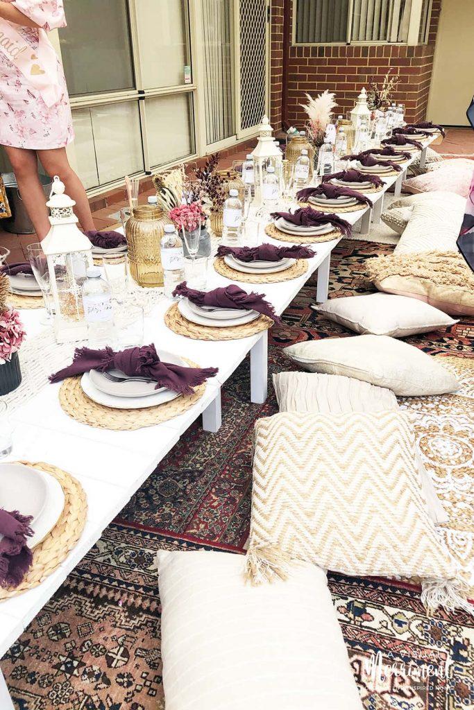 long low lying boho bachelorette party table setting