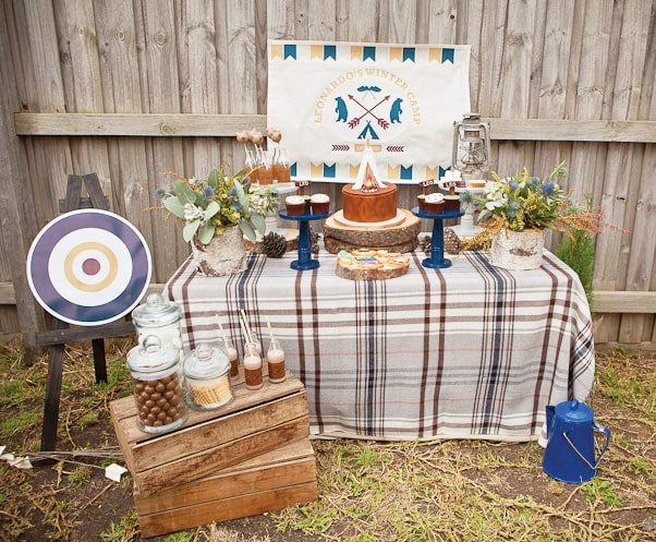 winter camping birthday party buffet table