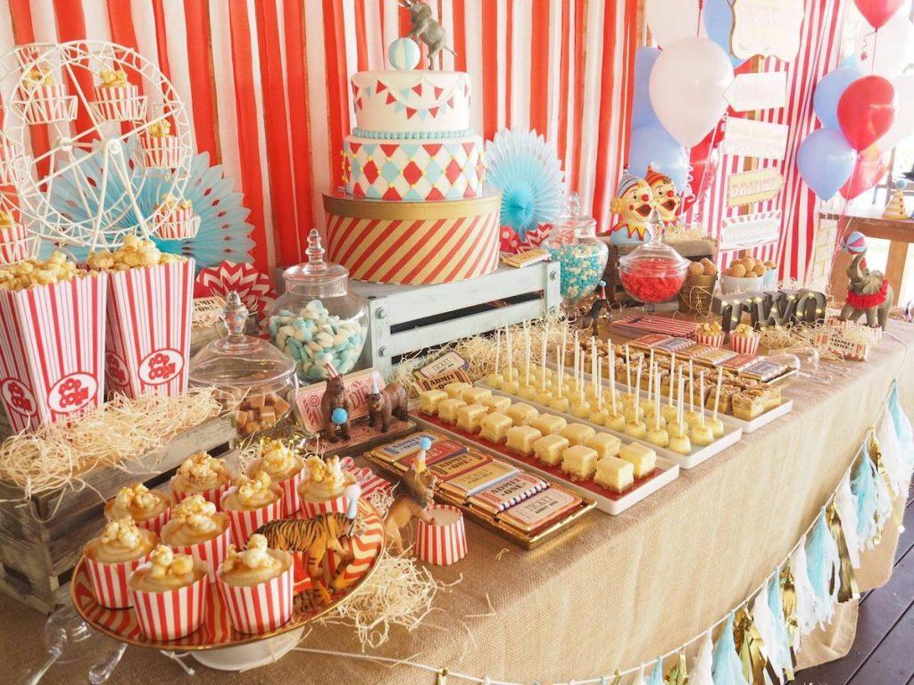 circus birthday party idea dessert table