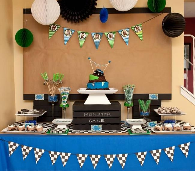 monster truck toddler birthday party buffet