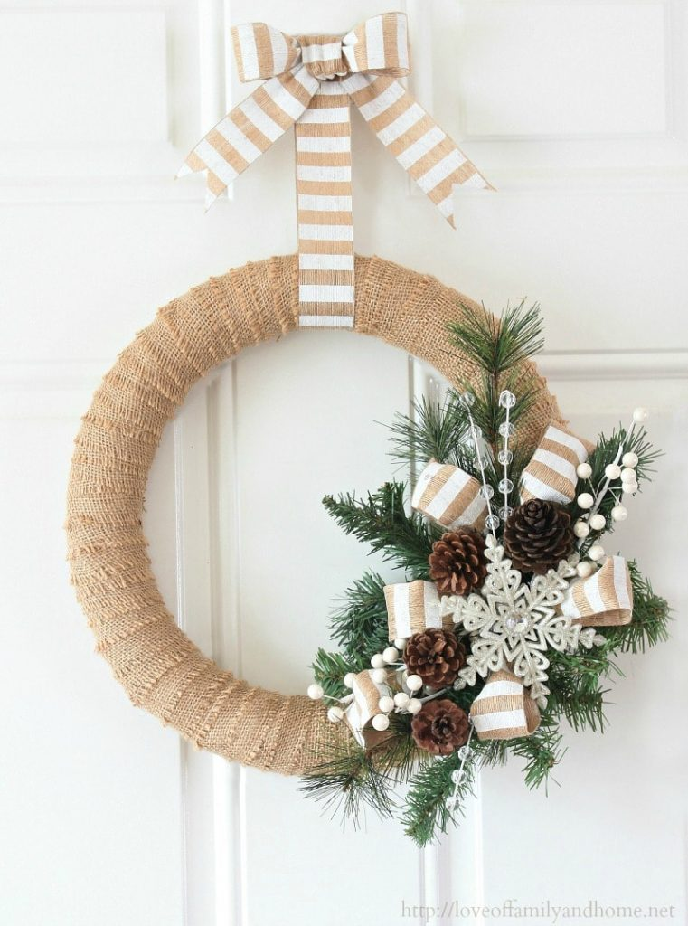 Burlap christmas wreath diy