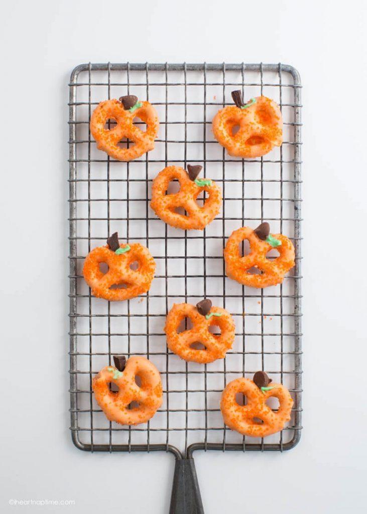 orange pumpkin pretzel Halloween party food