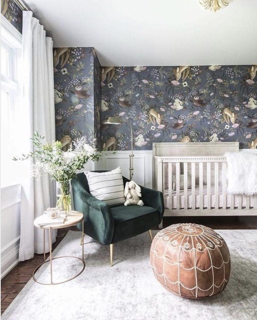 Modern nursery with cute wallpaper