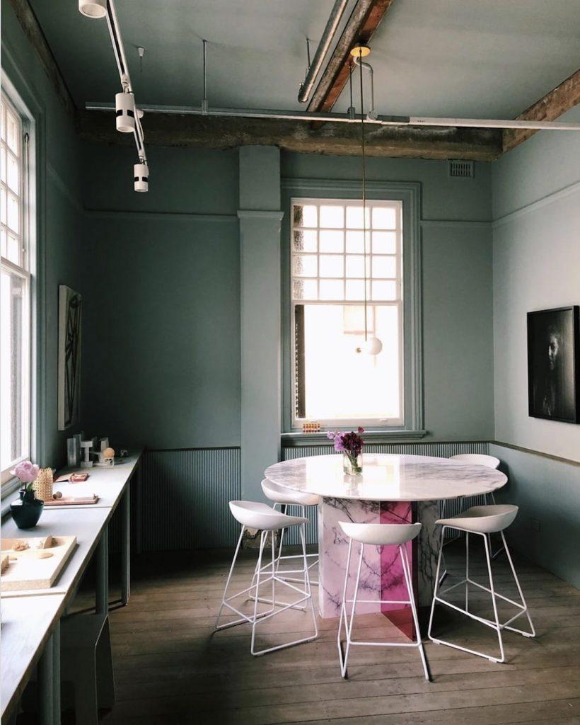 Green pink interior colour scheme