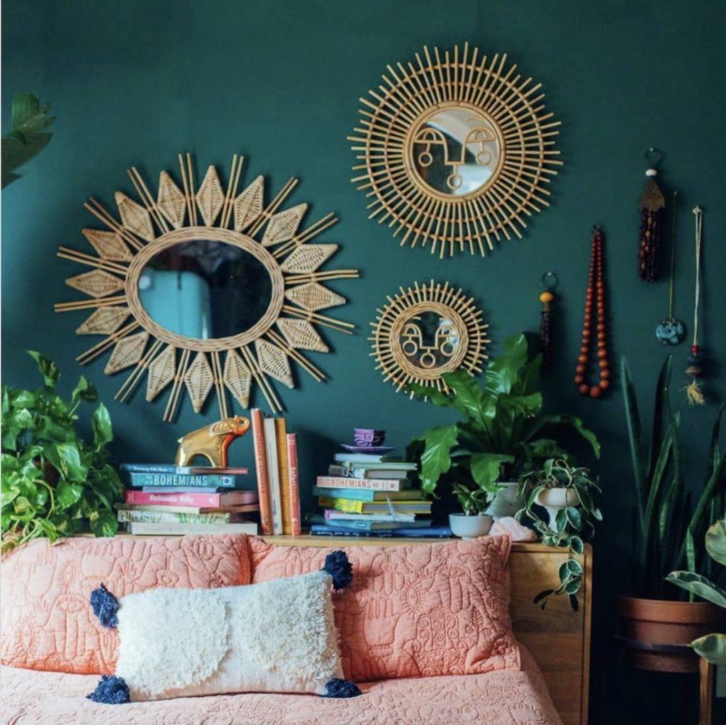 Boho jungle vibrant bedroom