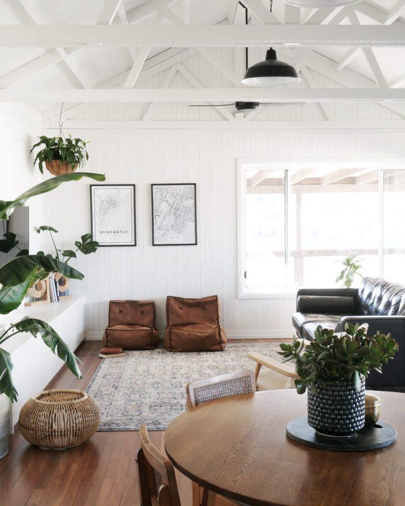 Relaxed coastal boho living room