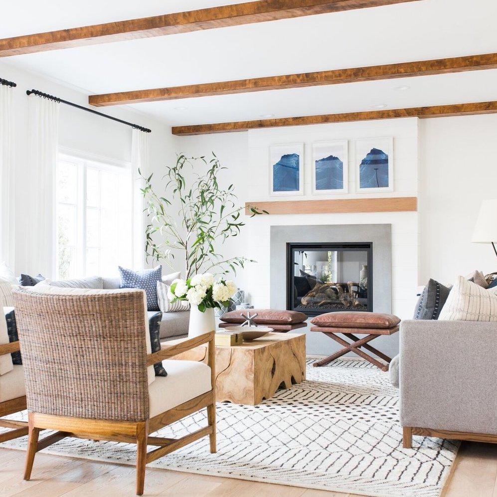 casual coastal boho living room and fireplace