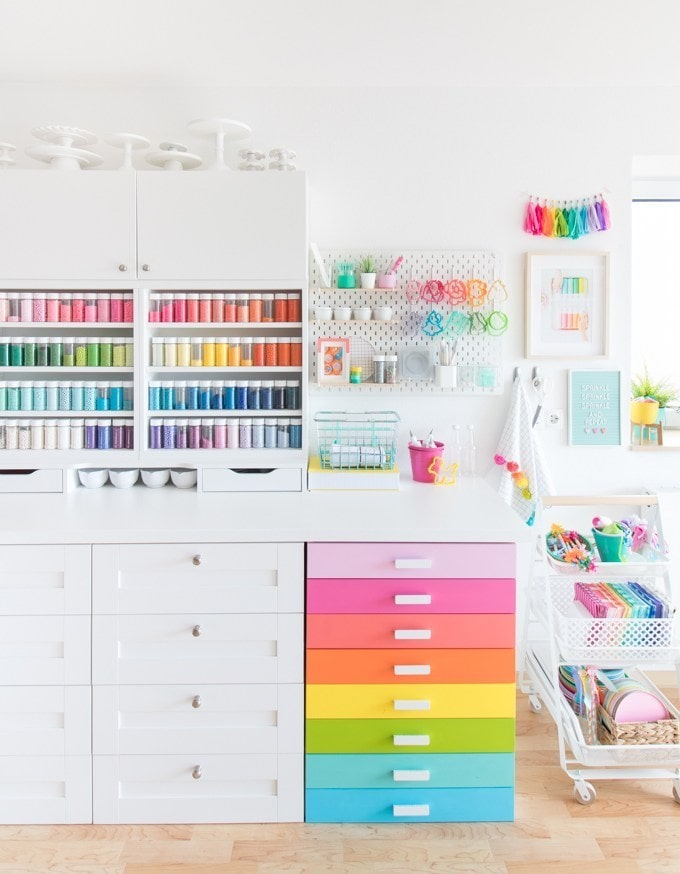 white and rainbow craft room storage