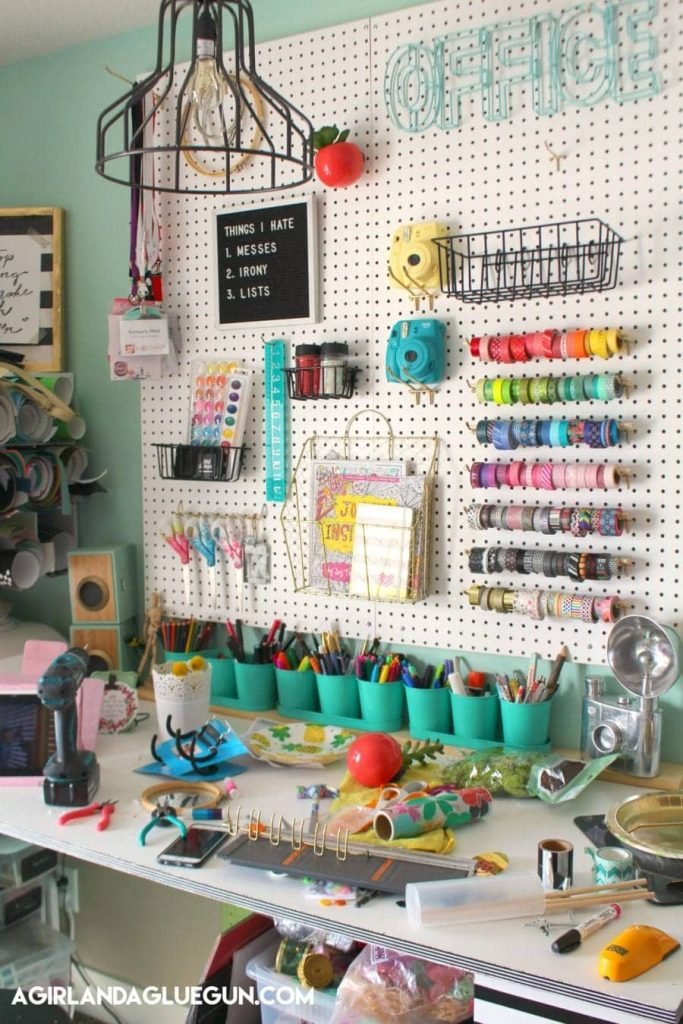 Colourful craft pegboard storage