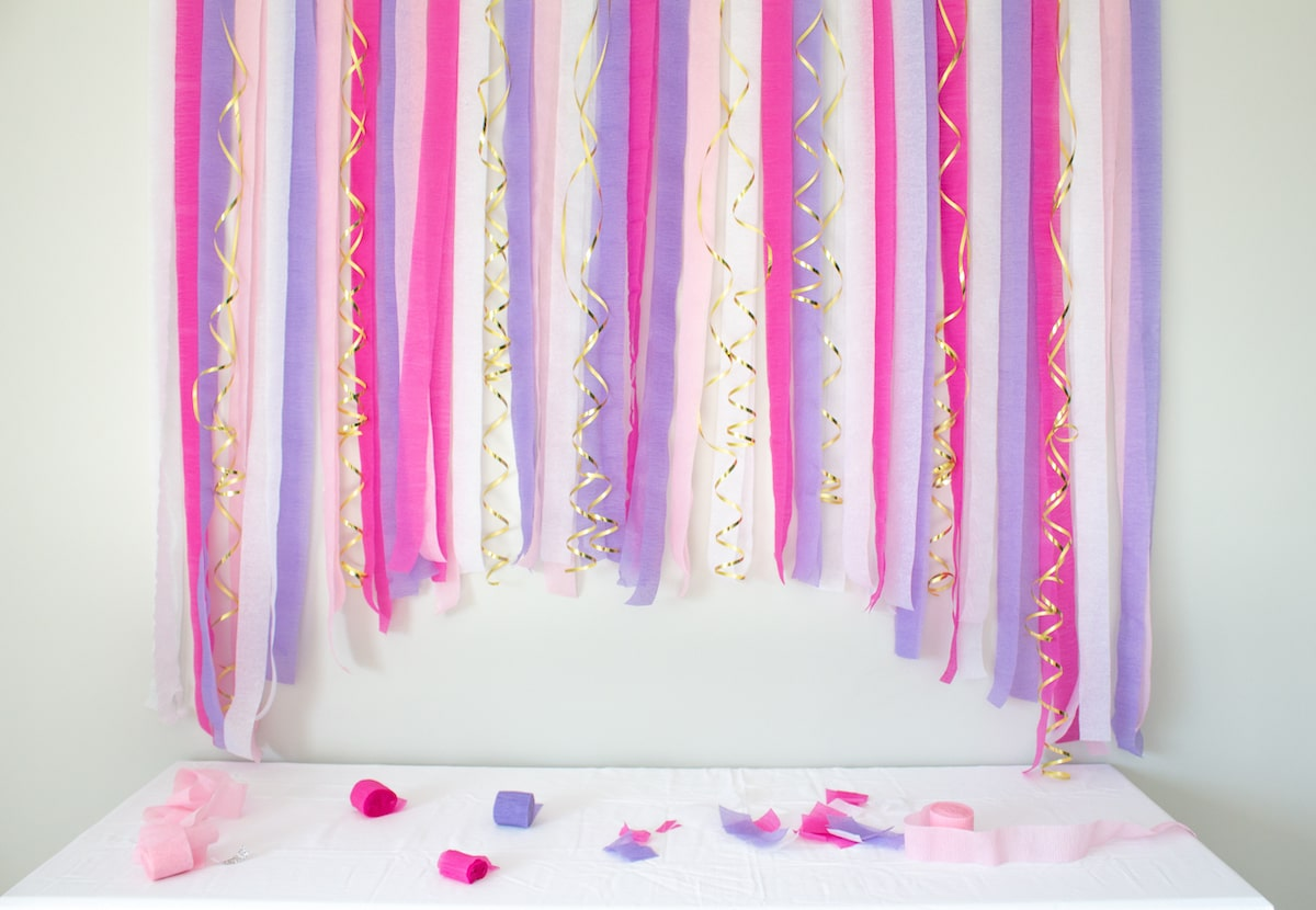 Finished crepe paper streamer party backdrop