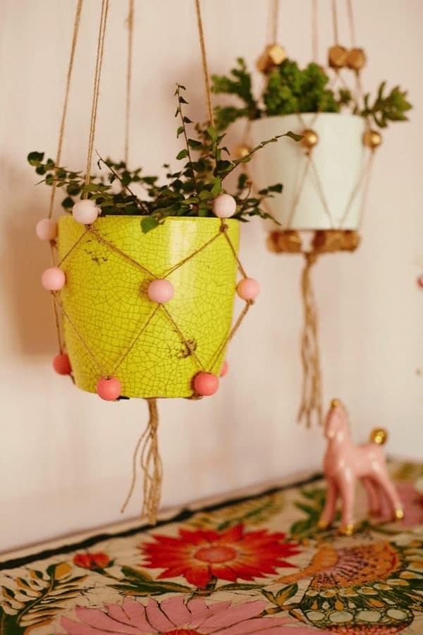 11 Cute Indoor Planter DIY Ideas | DIY beaded plant hangers | A Visual Merriment Round Up