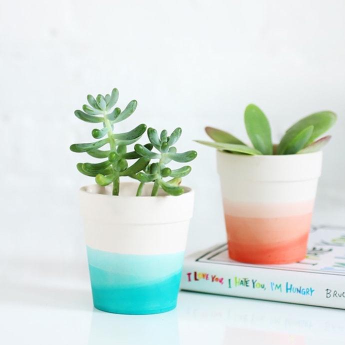 11 Cute Indoor Planter DIY Ideas | dip dye ombre plant pots | A Visual Merriment Round Up