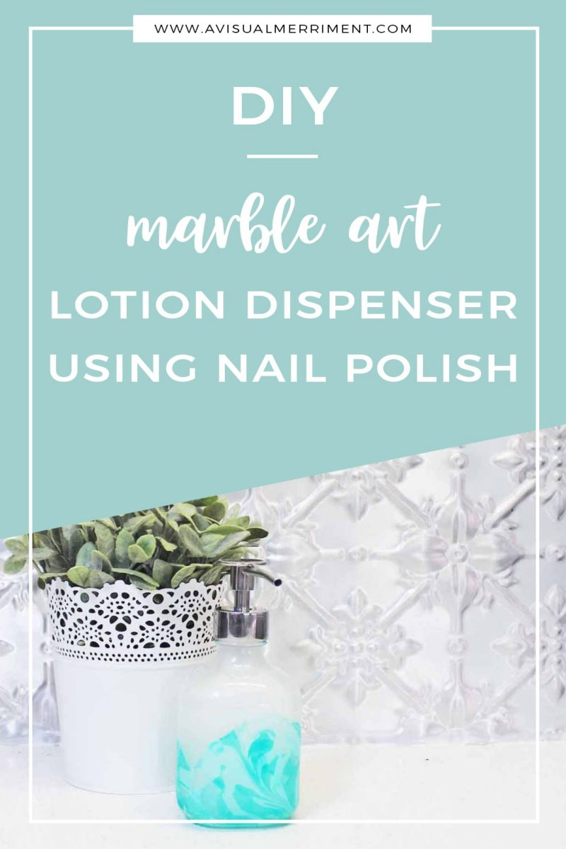 DIY lotion dispenser using nail polish marble art