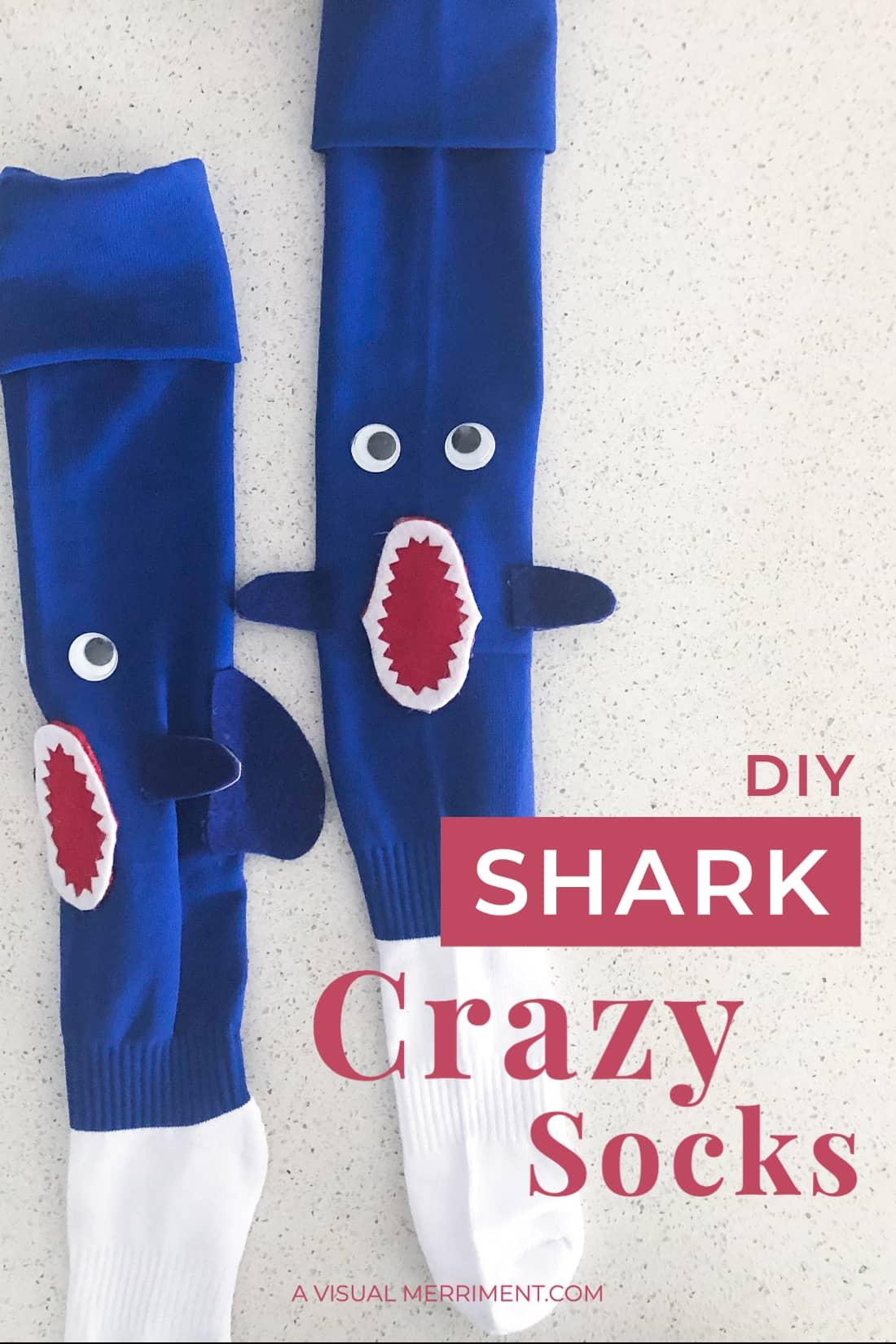 pink shark crazy socks graphic