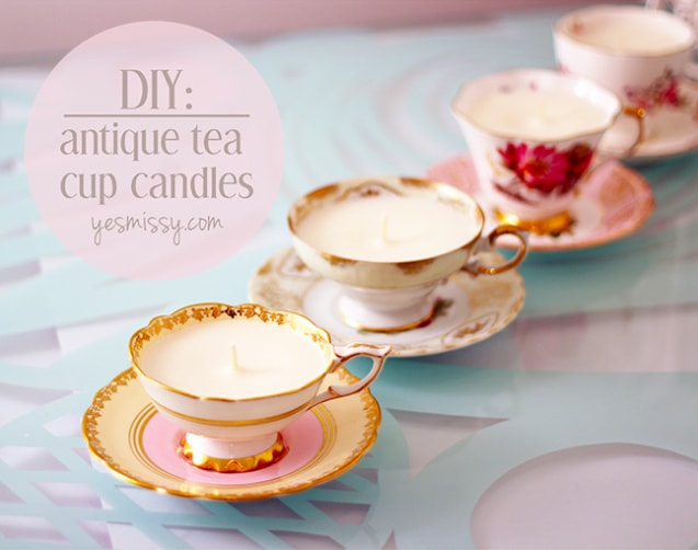 DIY 25 Handmade Gifts to Craft Your Loved Ones (or sell them, they're that good!) | DIY Antique Tea Cup Candles | A Visual Merriment