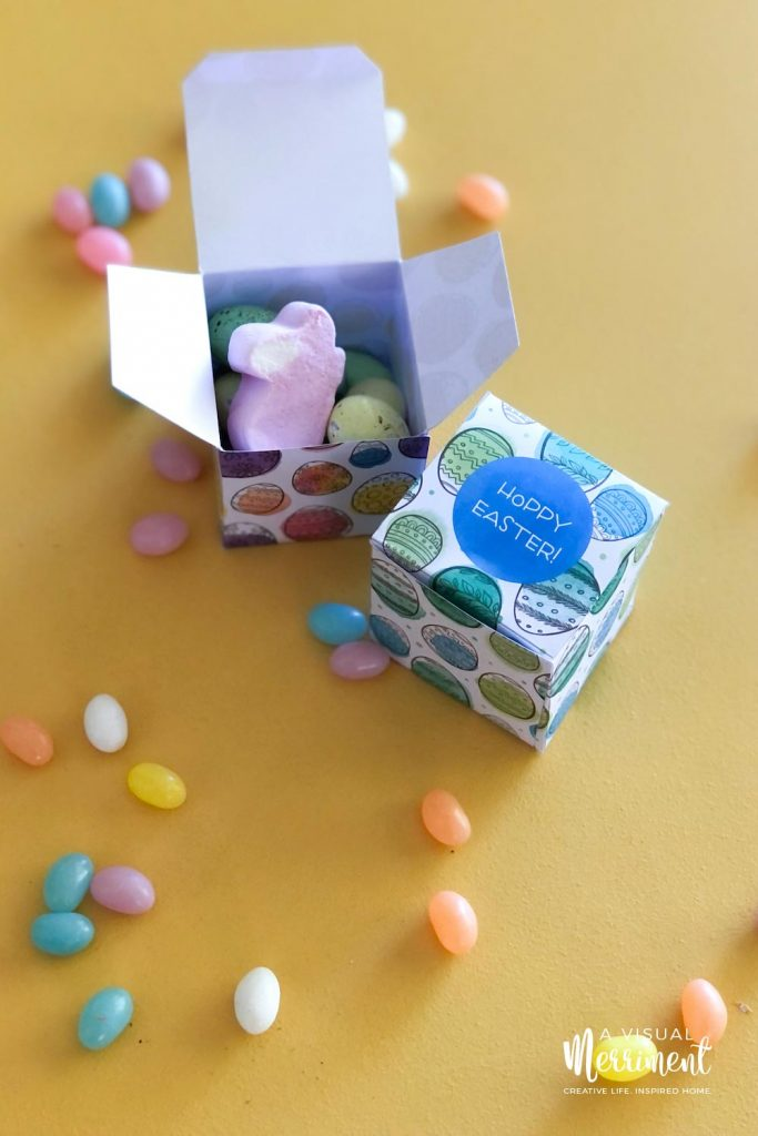 Open Easter box with eggs and lollies